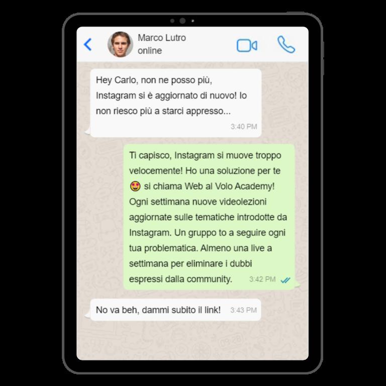 conversazione corso instagram aggiornato